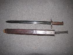 click to see SW-238, Pre WW I US M1905 Springfield Rifle Bayonet and scabbard (both dated 1906)